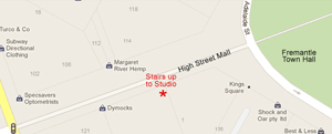 Map showing location of studio in Fremantle on High Street Mall