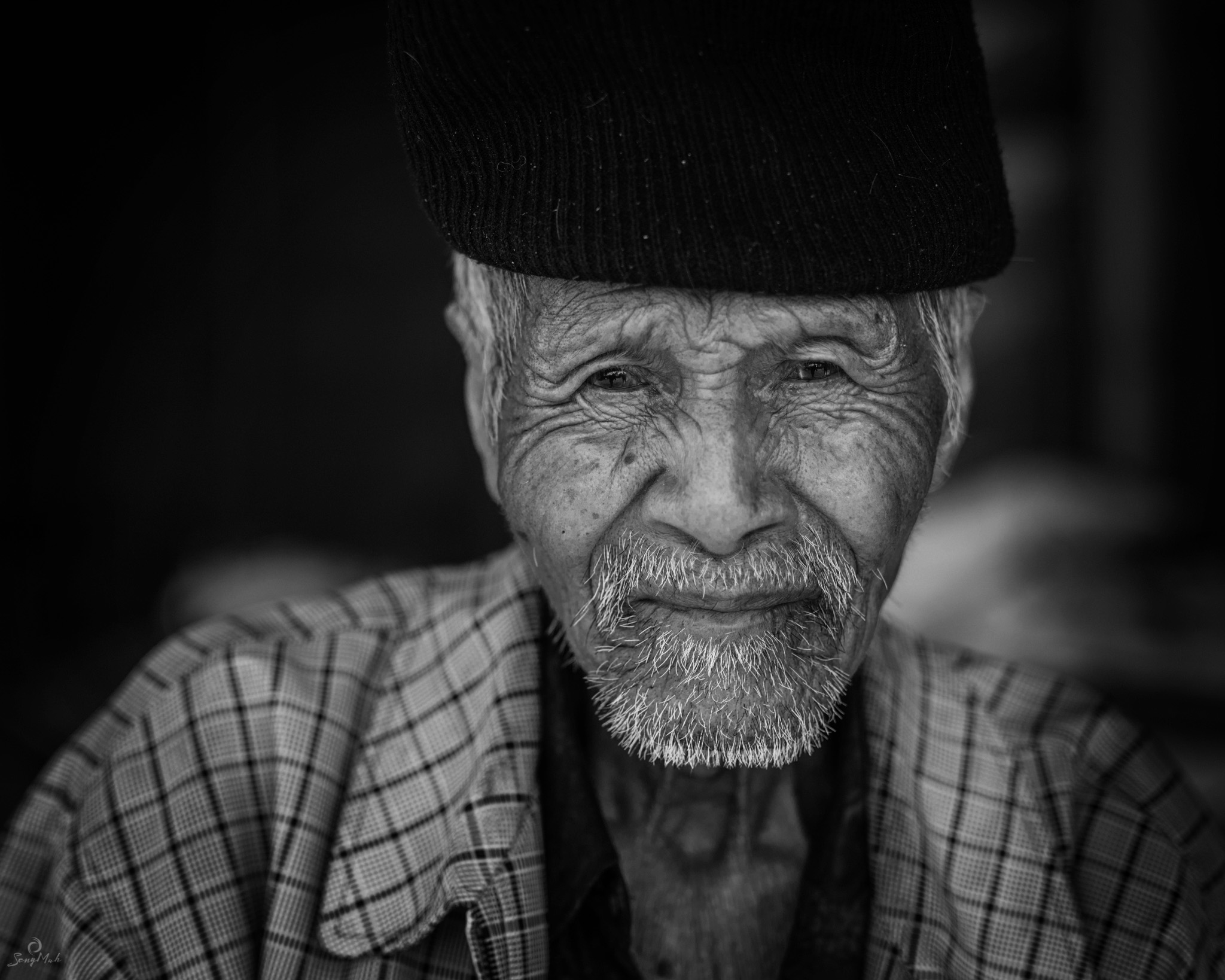 Black and white portrait of 80 year old Balinese Man