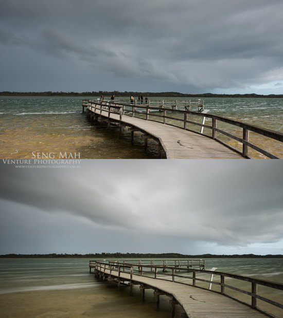 Two exposures of Lake Clifton on an overcast and windy day. In the first exposure, taken at fast shutter speed, motion is frozen. In the second, taken at slow shutter speed using a ND400 filter, motion is blurred.