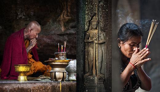 Buddhist prayer scenes