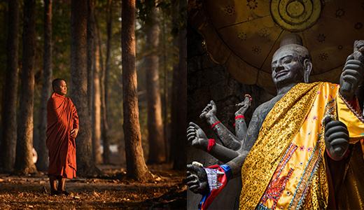 Buddhist monk and statue of Vishnu/Buddha