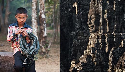 Khmer cowboy and Buddha head at the Bayon