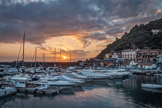 Blended exposures of the harbour at Maratea