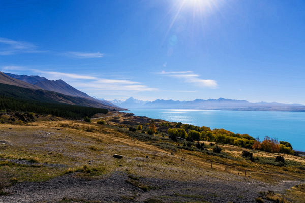 Wide angle landscape of Mt Cook and Lake Pukaki, taken from Peter's Lookout.