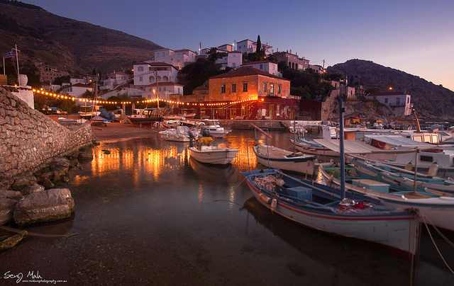 Wide angle landscape of a harbour at Kamini, Hydra, Greece.