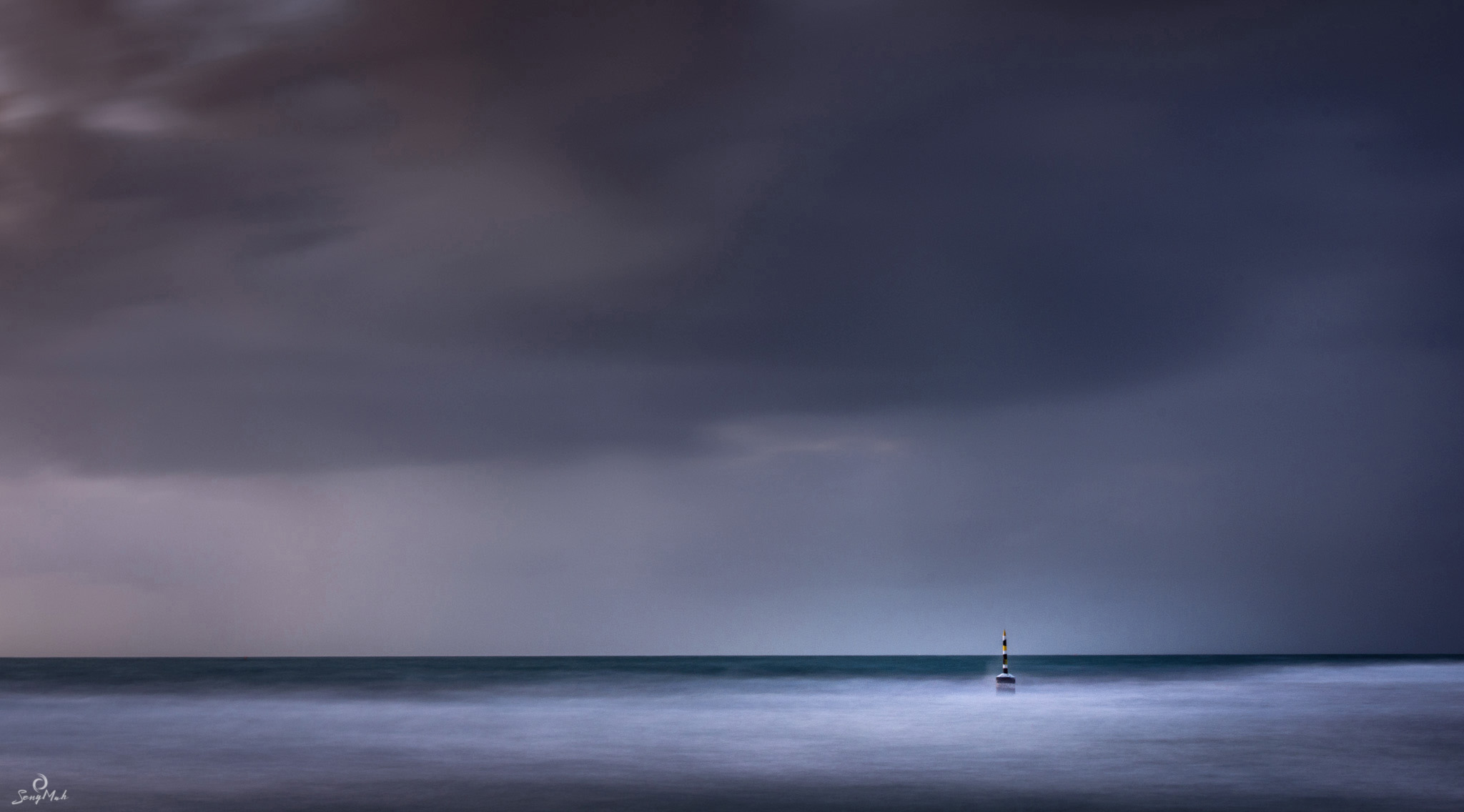 Cottesloe Pylon in a storm