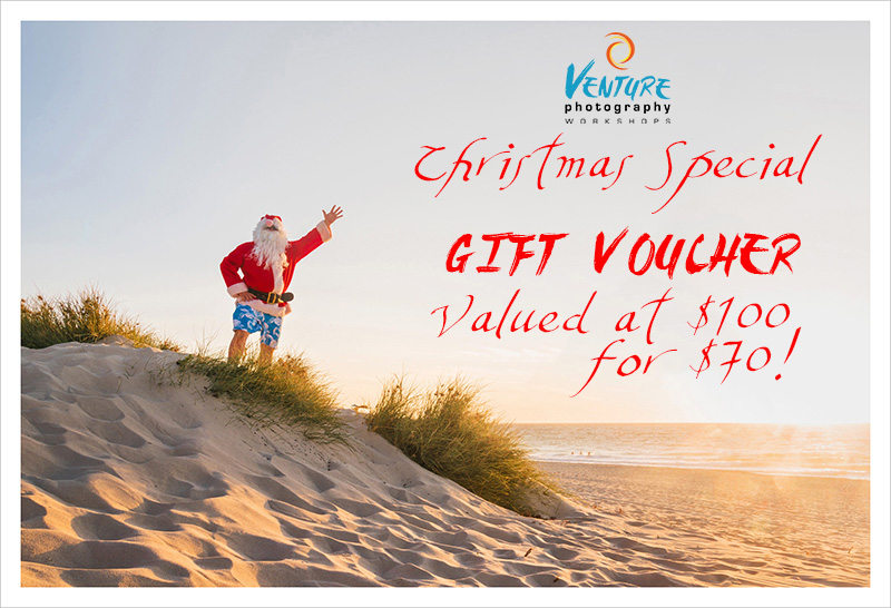 Picture of Santa Claus with text saying: Gift voucher special - $100 voucher for only $70