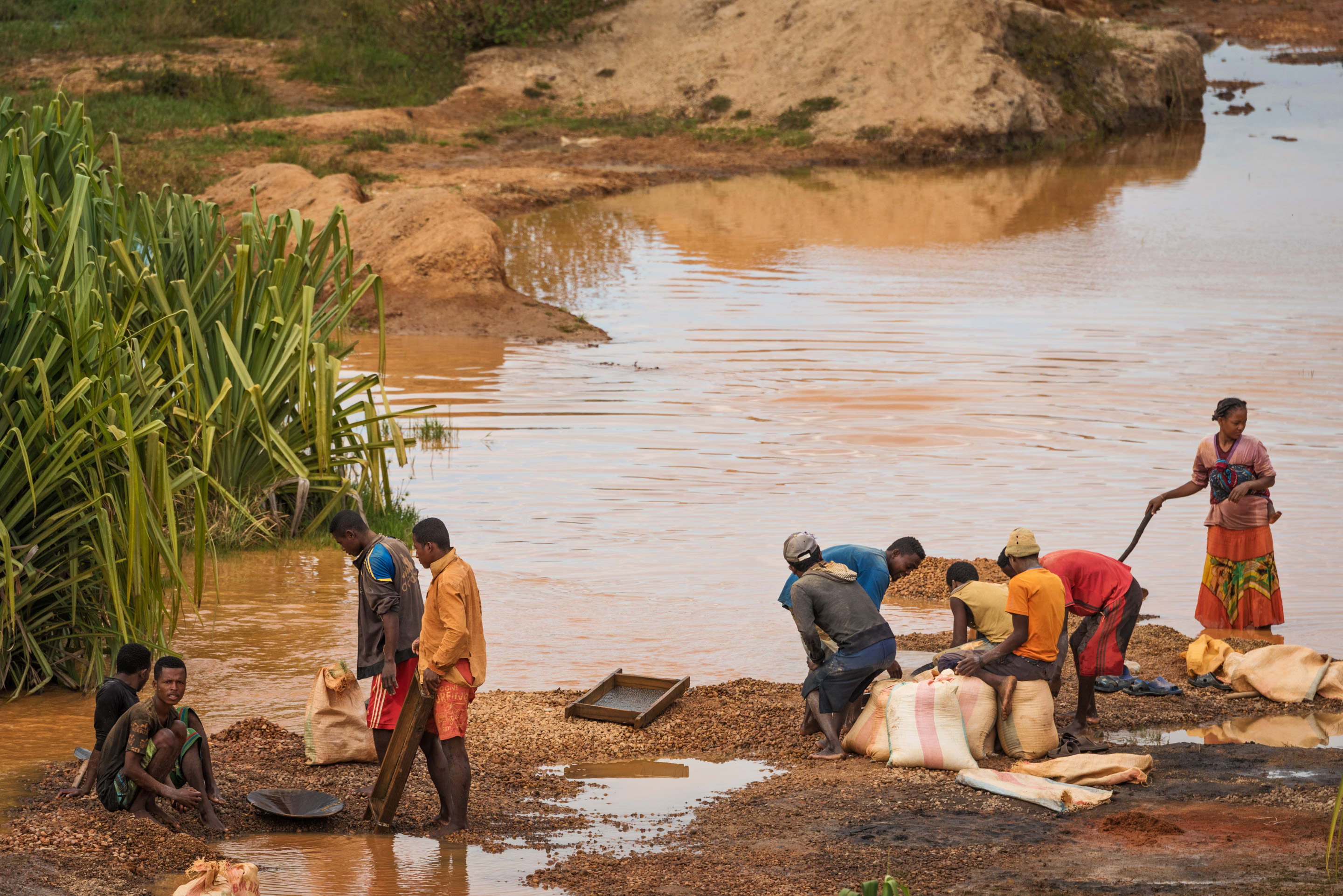 Panning for emeralds in a river in Isalo