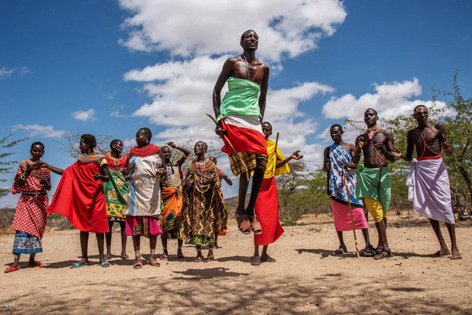 Maasai men jumping ceremony