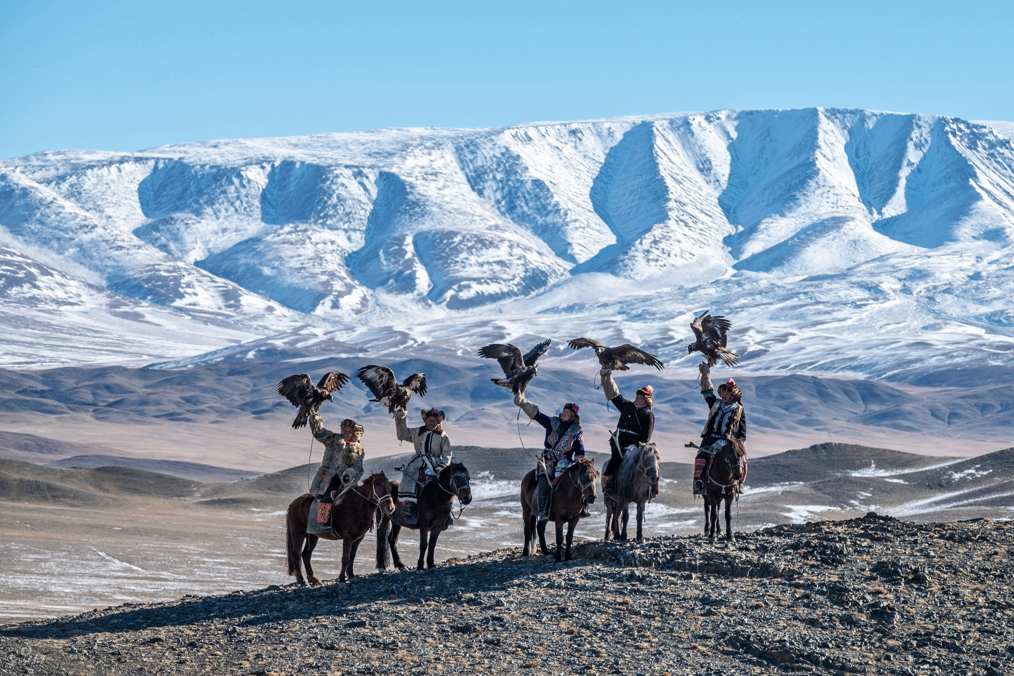 Eagle hunters in the Altai Valley
