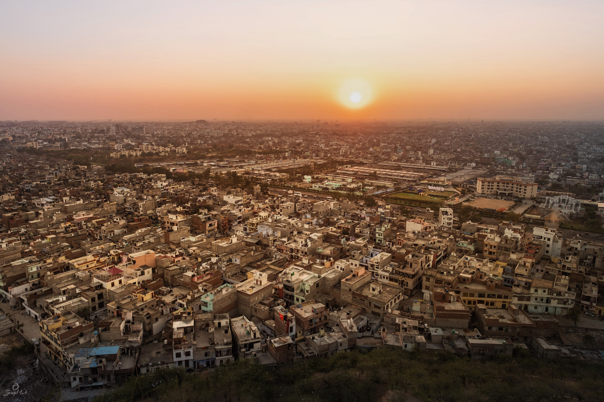 The Pink City at sunset