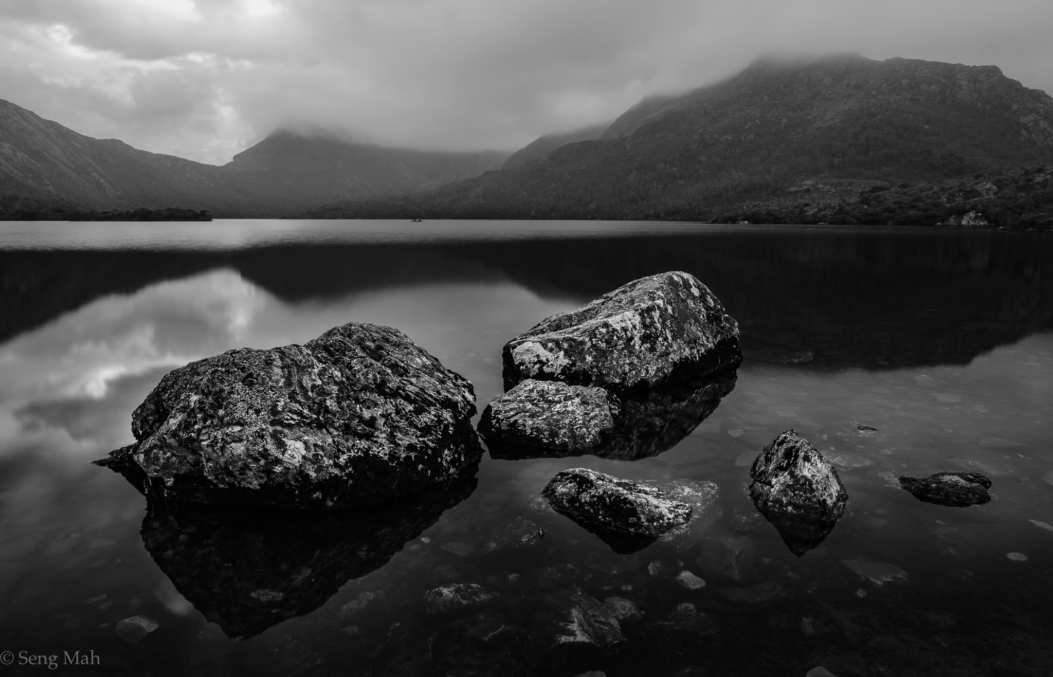 Dove Lake in black and white