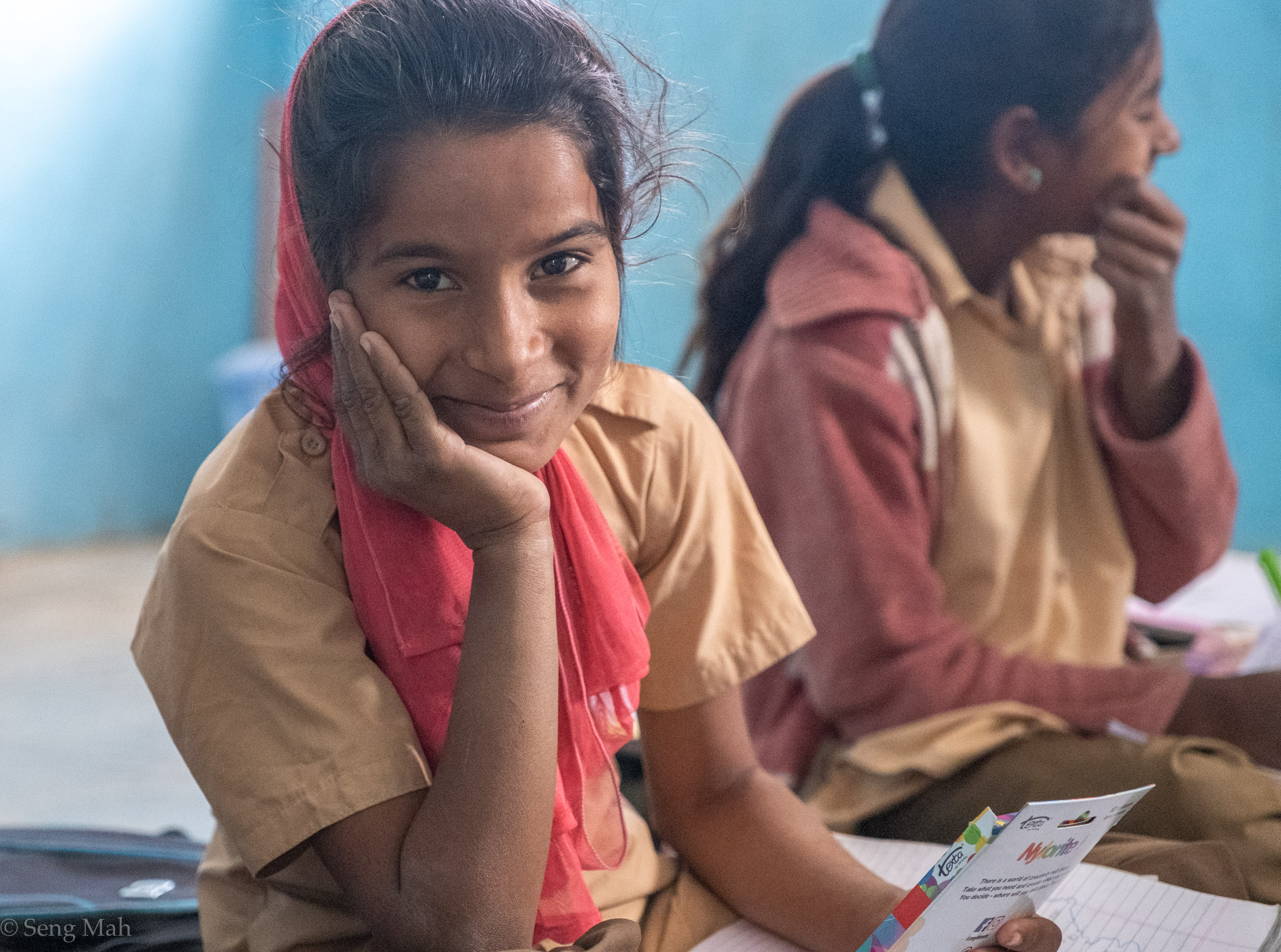 Portrait of a school girl in a village school