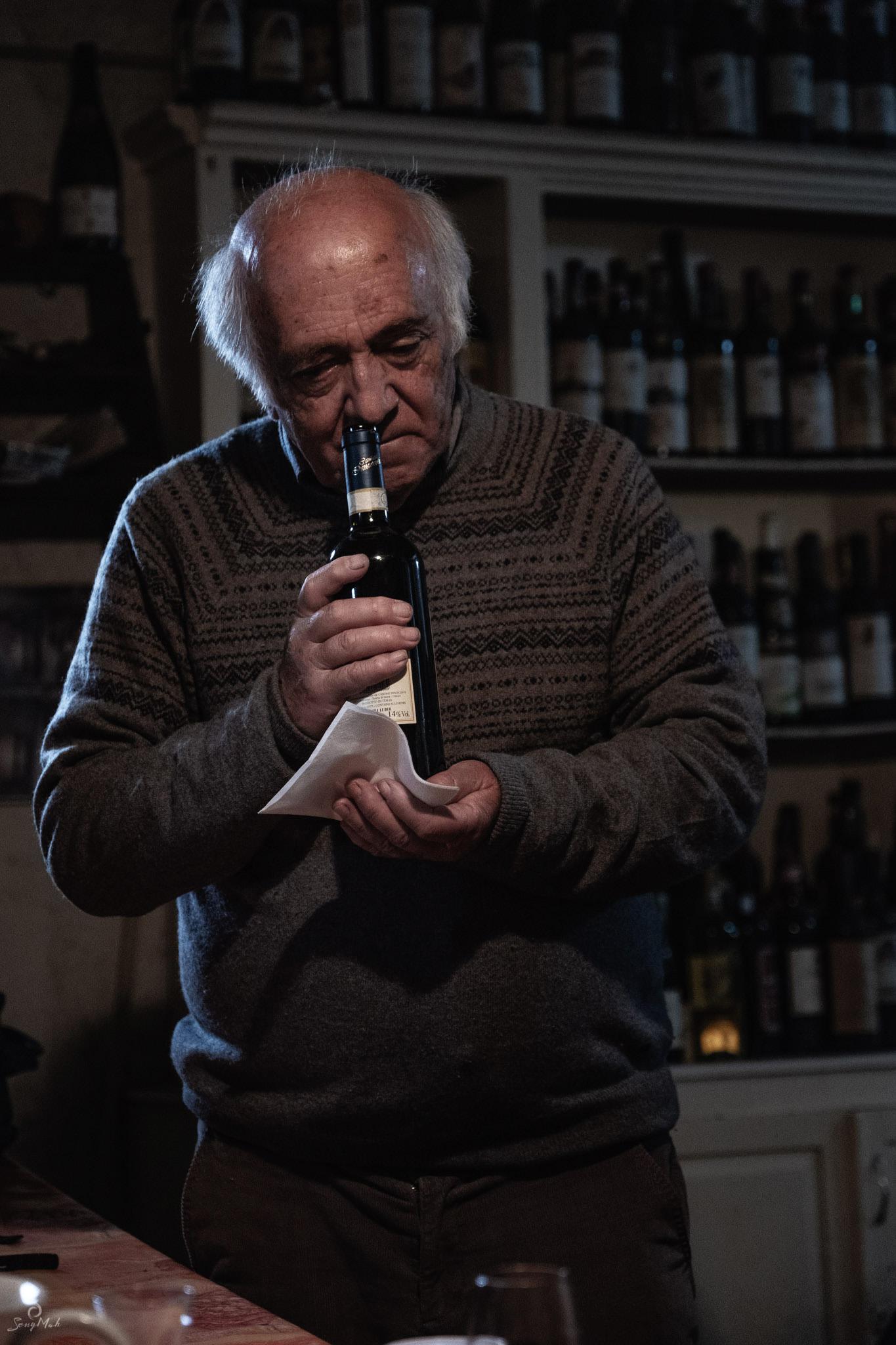Wine tasting in a wine cellar, Montefollonico