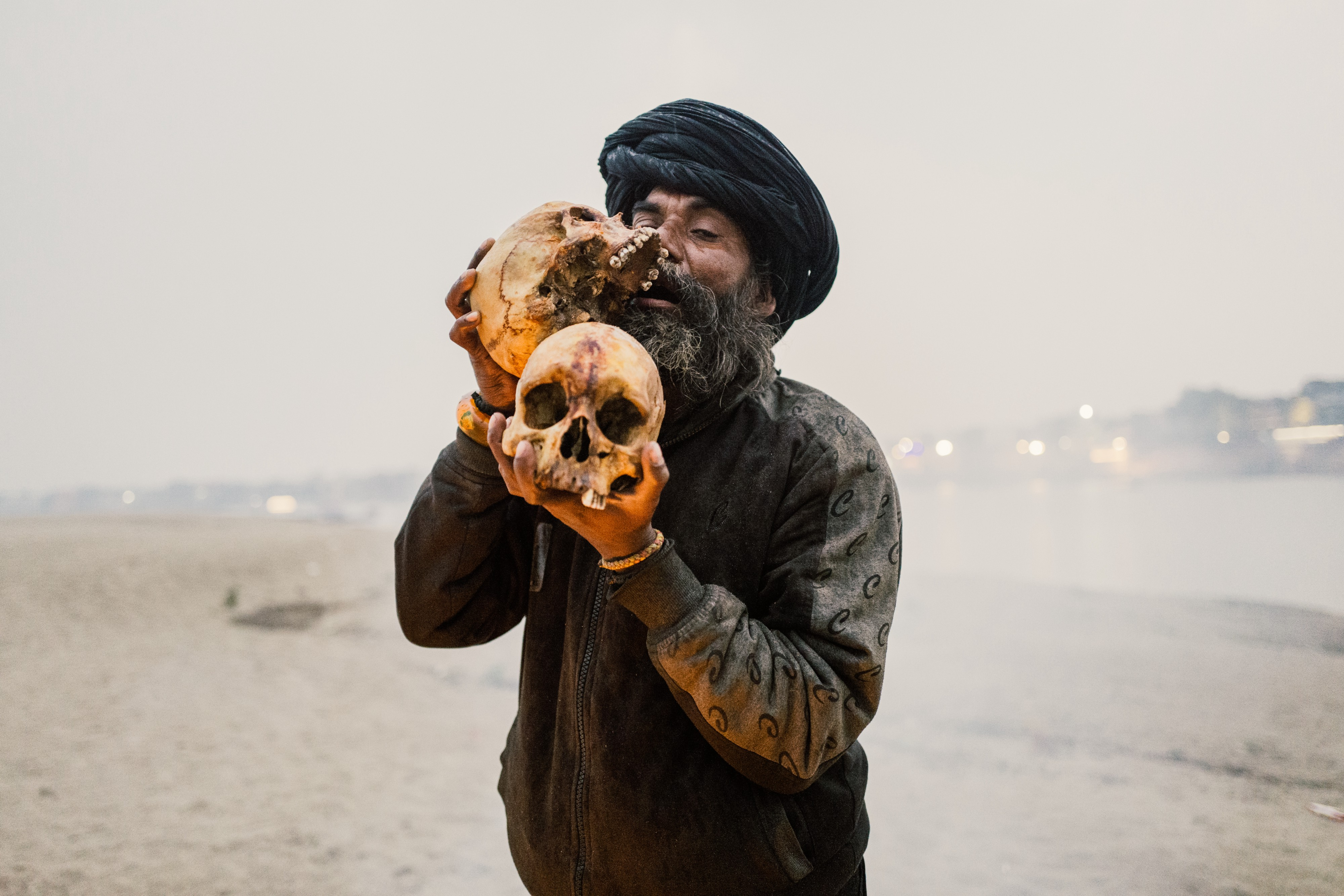 Aghori with skulls