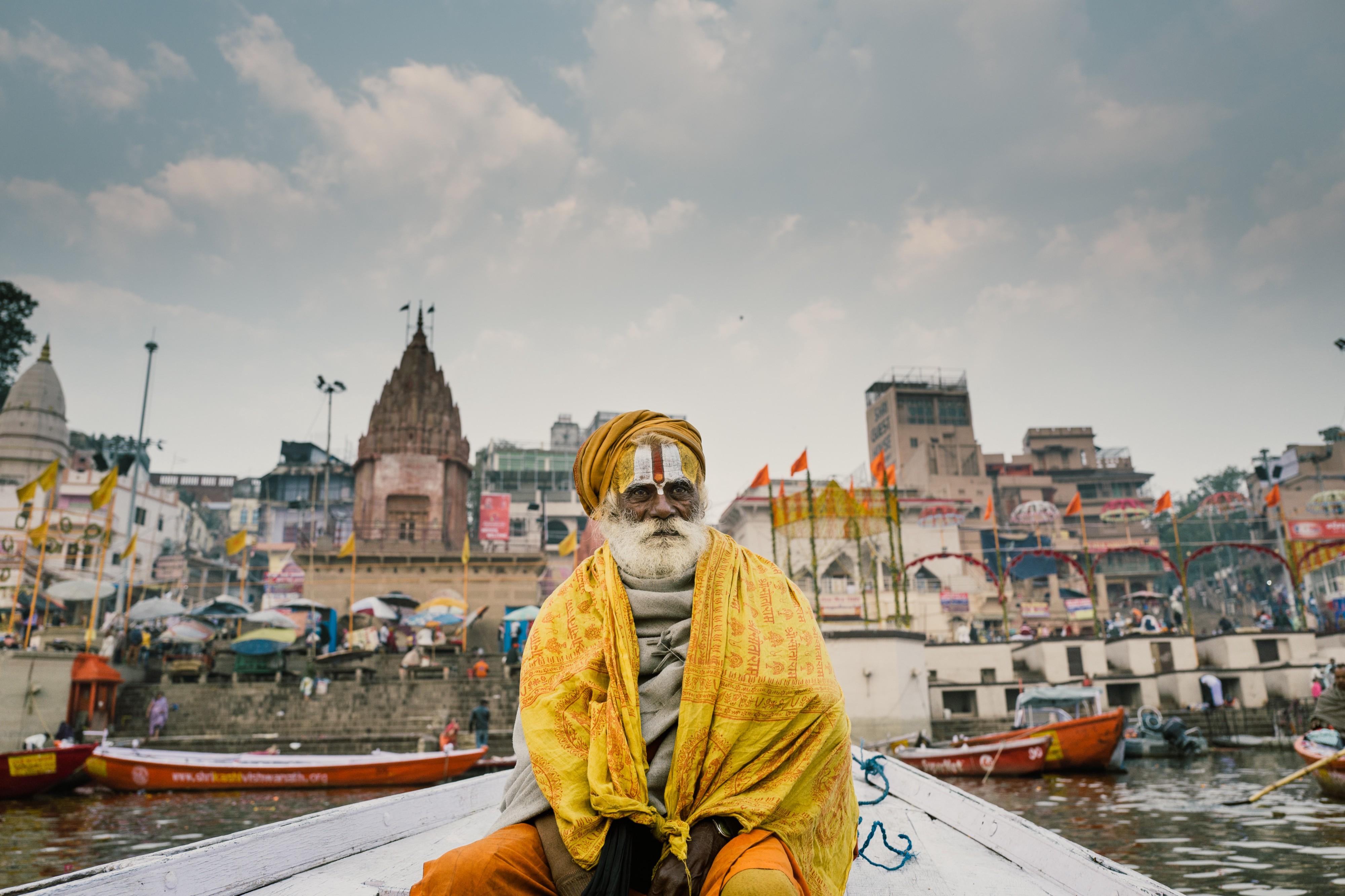 Sadhu on a boat