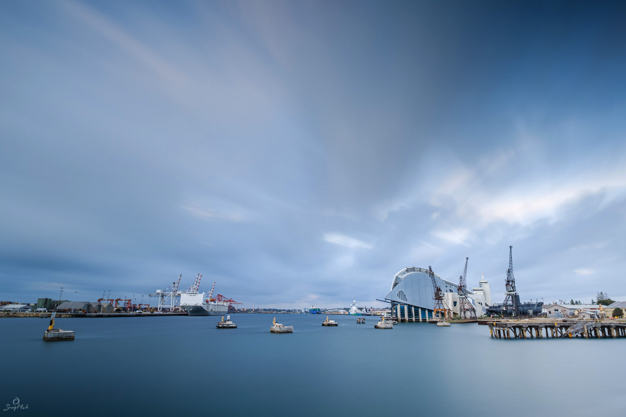 Fremantle Harbour in long exposure