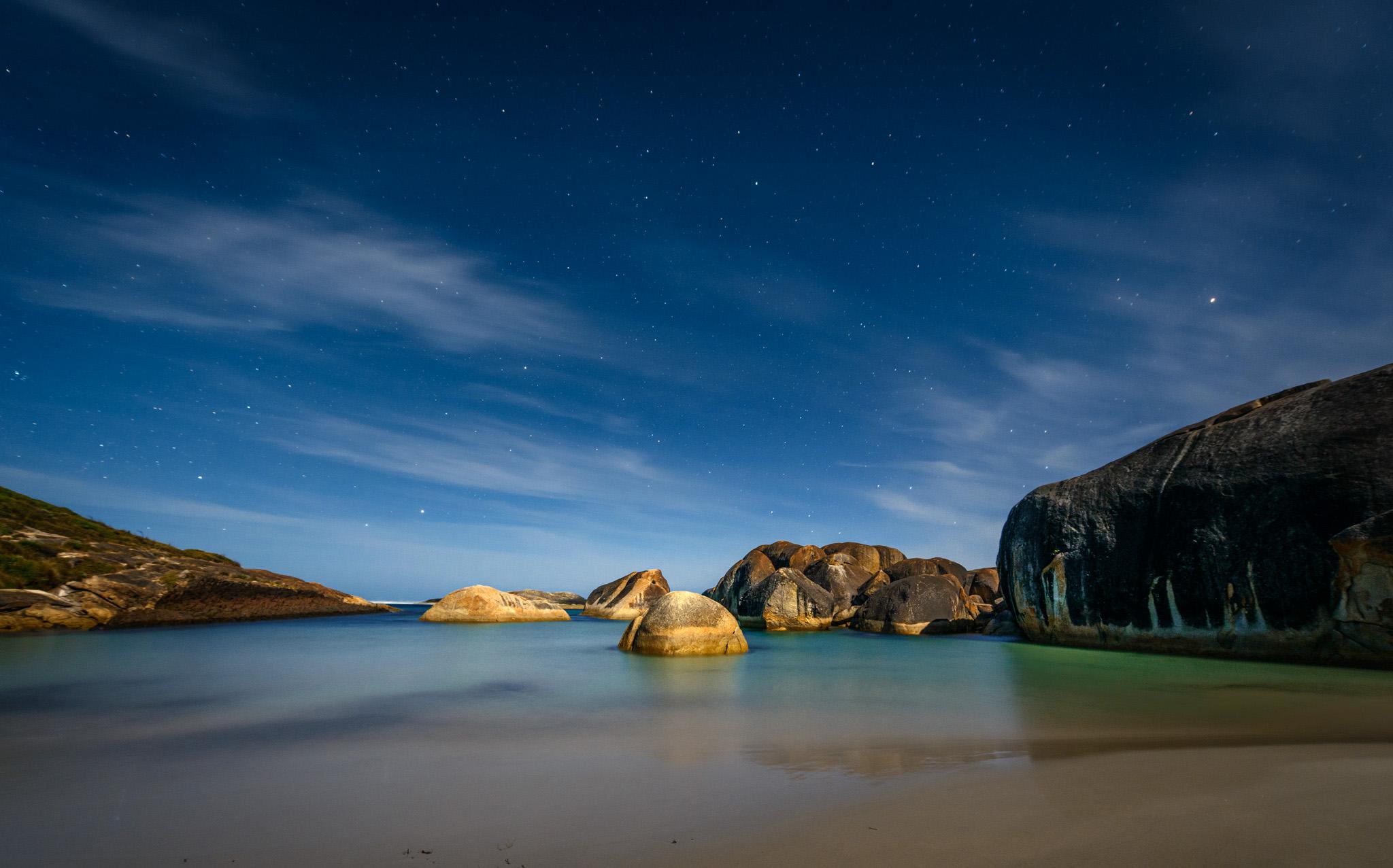 Elephant Rocks Cove in Moonlight