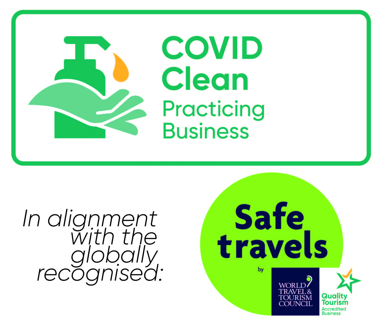 Covid Clean Practising Business in alignment with globally recognised Safe Travels