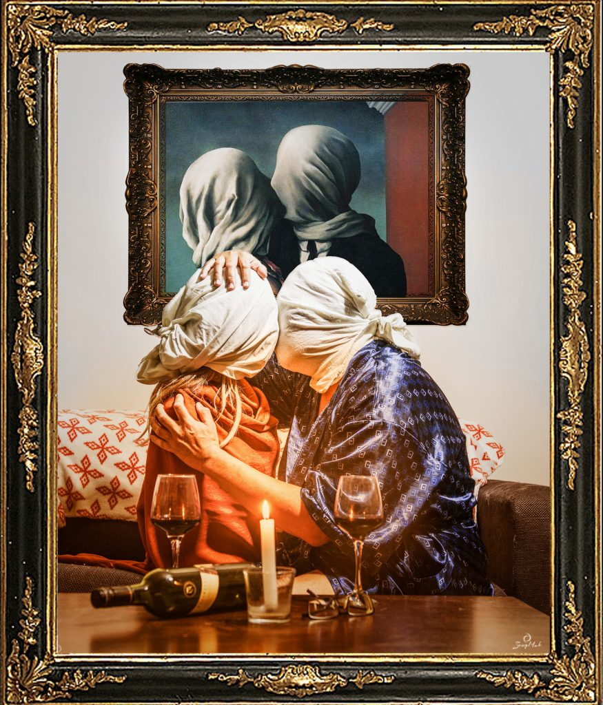 A homage to Rene Magritte's The Lovers, showing two masked figures embraced in a kiss.