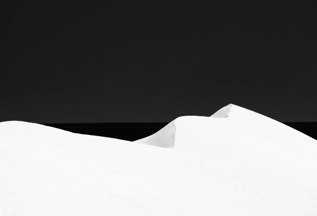 Black and white image of sand dunes at Lancelin.