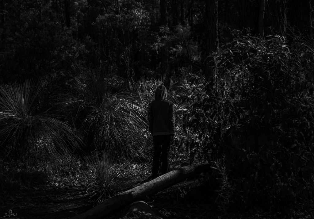 An eerie black and white image of a hooded figure standing in a forest.