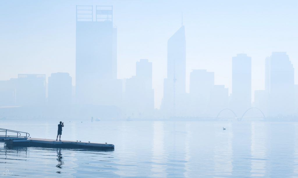 A smokey morning in Perth City, taken from across the Swan River.