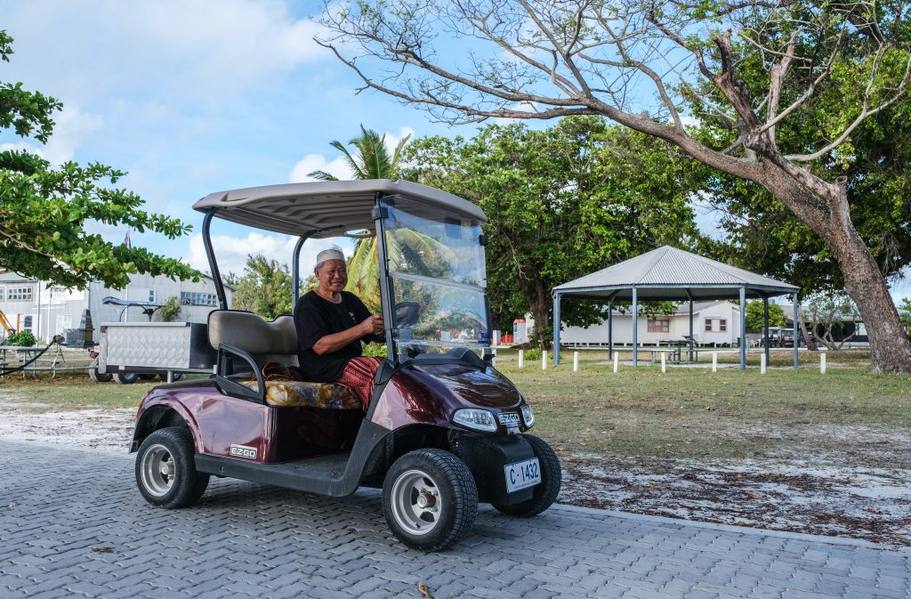 Home island man in buggy