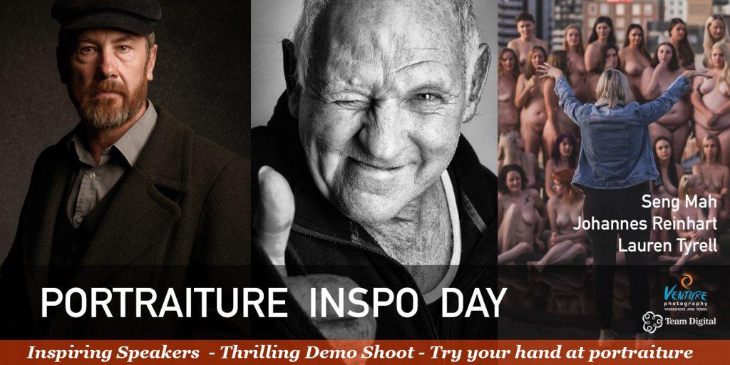 Portraiture Inspo Day poster featuring samples of portraits by Seng Mah, Johannes Reinhart and Lauren Crooke